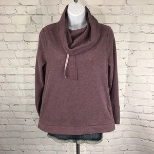 LL Bean Cowl Neck Jacket Pull Over Purple Sweater